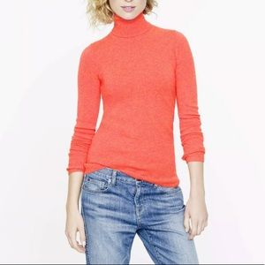 J.Crew 100% Cashmere long sleeves orange turtleneck sweater style# 72130